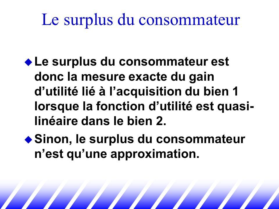 Le surplus du consommateur est donc la mesure exacte du gain dutilité lié à lacquisition du bien 1 lorsque la fonction dutilité est quasi- linéaire da