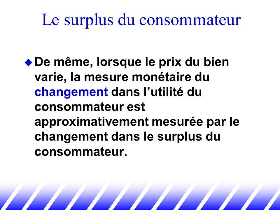 De même, lorsque le prix du bien varie, la mesure monétaire du changement dans lutilité du consommateur est approximativement mesurée par le changemen