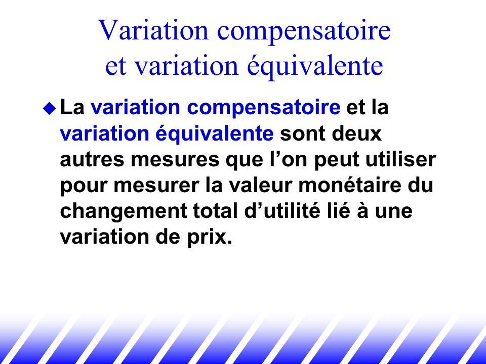 La variation compensatoire et la variation équivalente sont deux autres mesures que lon peut utiliser pour mesurer la valeur monétaire du changement t