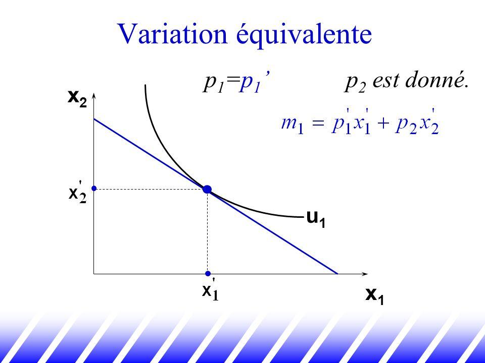 x2x2 x1x1 u1u1 p 1 =p 1 p 2 est donné.