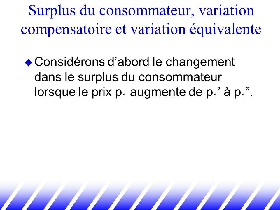 Considérons dabord le changement dans le surplus du consommateur lorsque le prix p 1 augmente de p 1 à p 1. Surplus du consommateur, variation compens