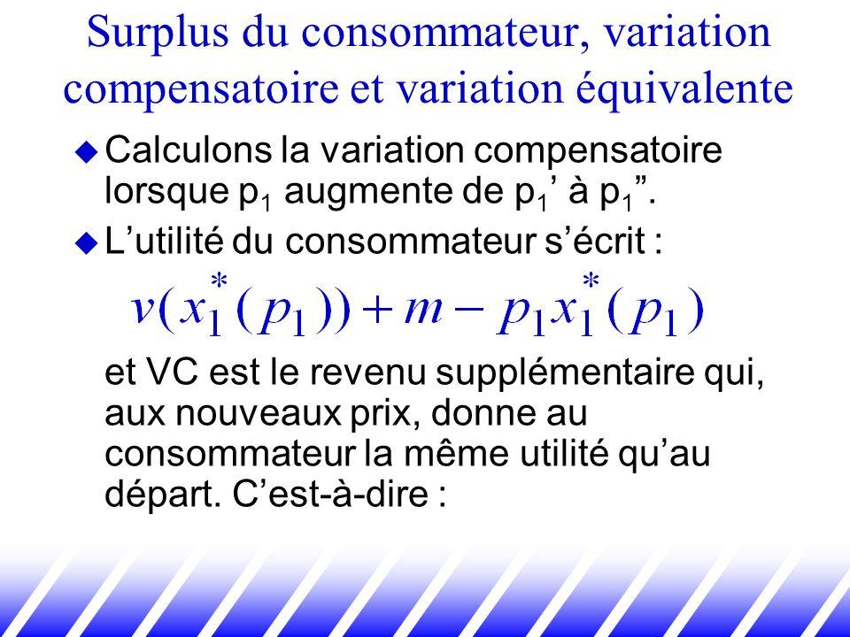 Calculons la variation compensatoire lorsque p 1 augmente de p 1 à p 1. Lutilité du consommateur sécrit : et VC est le revenu supplémentaire qui, aux