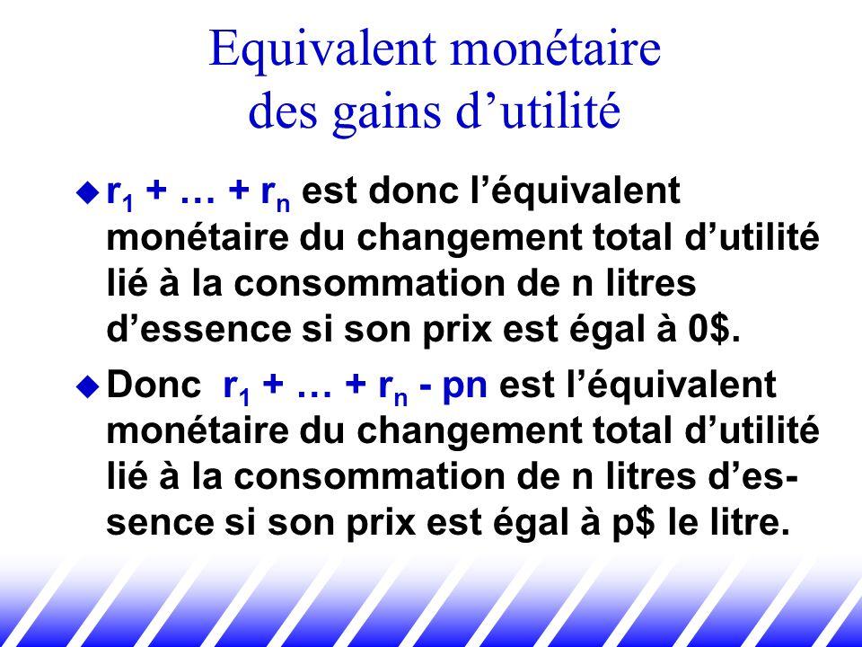 r 1 + … + r n est donc léquivalent monétaire du changement total dutilité lié à la consommation de n litres dessence si son prix est égal à 0$. Donc r