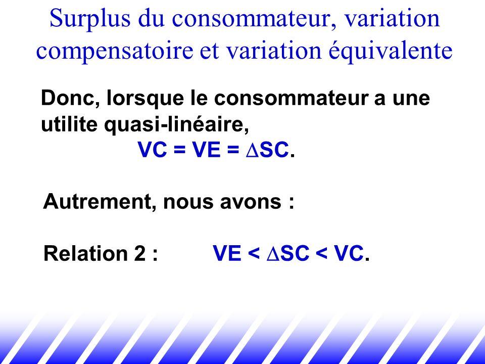 Surplus du consommateur, variation compensatoire et variation équivalente Donc, lorsque le consommateur a une utilite quasi-linéaire, VC = VE = SC. Au