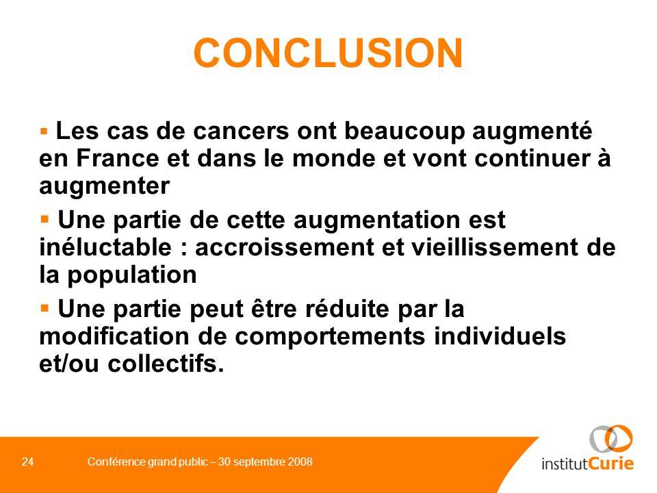 24Conférence grand public – 30 septembre 2008 CONCLUSION Les cas de cancers ont beaucoup augmenté en France et dans le monde et vont continuer à augme