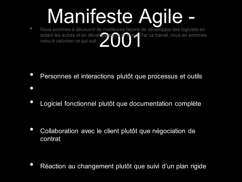 Manifeste Agile - 2001 Nous sommes à découvrir de meilleures façons de développer des logiciels en aidant les autres et en développant nous aussi. Par