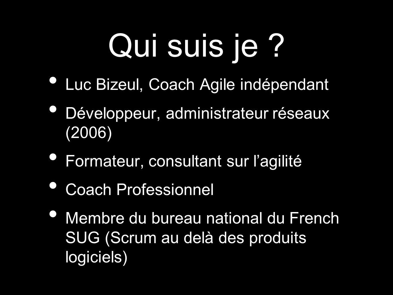 Qui suis je ? Luc Bizeul, Coach Agile indépendant Développeur, administrateur réseaux (2006) Formateur, consultant sur lagilité Coach Professionnel Me