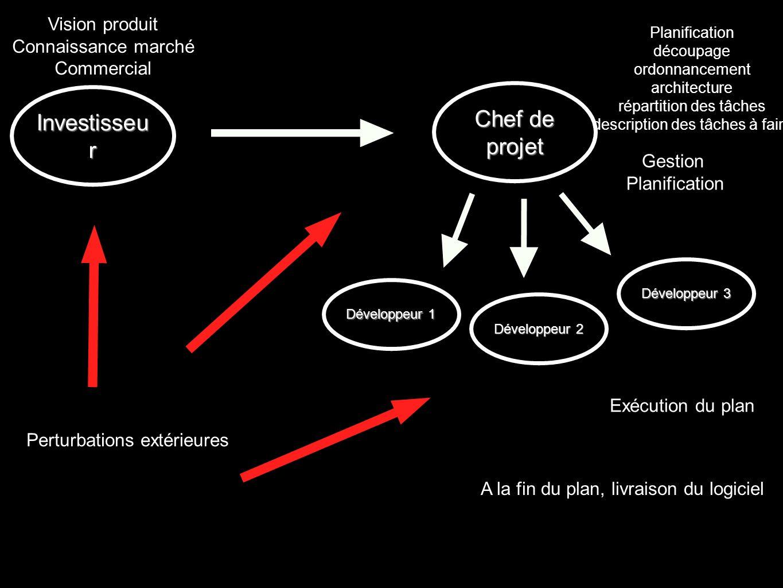 Perturbations extérieures Vision produit Connaissance marché Commercial Gestion Planification Exécution du plan Investisseu r Chef de projet Développe