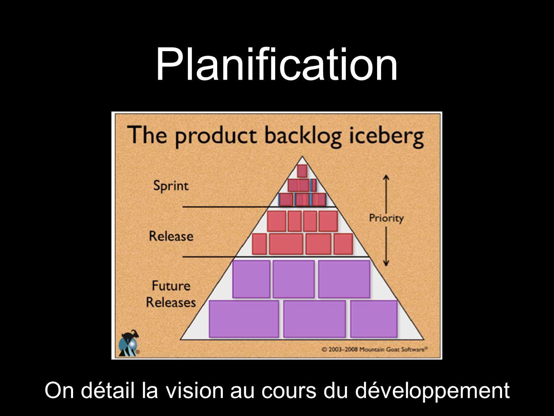 Planification On détail la vision au cours du développement