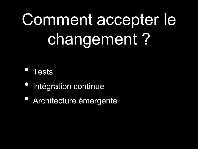 Comment accepter le changement ? Tests Intégration continue Architecture émergente