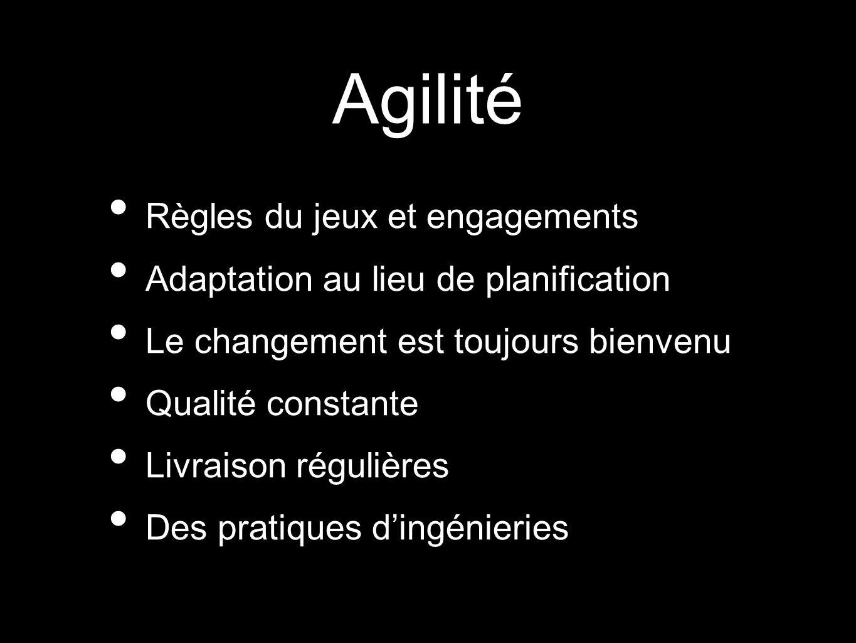 Agilité Règles du jeux et engagements Adaptation au lieu de planification Le changement est toujours bienvenu Qualité constante Livraison régulières D