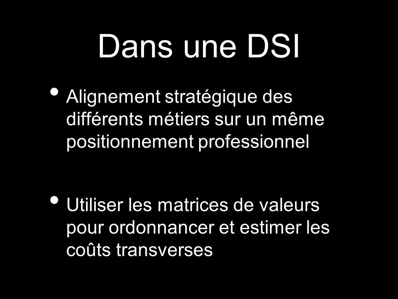 Dans une DSI Alignement stratégique des différents métiers sur un même positionnement professionnel Utiliser les matrices de valeurs pour ordonnancer