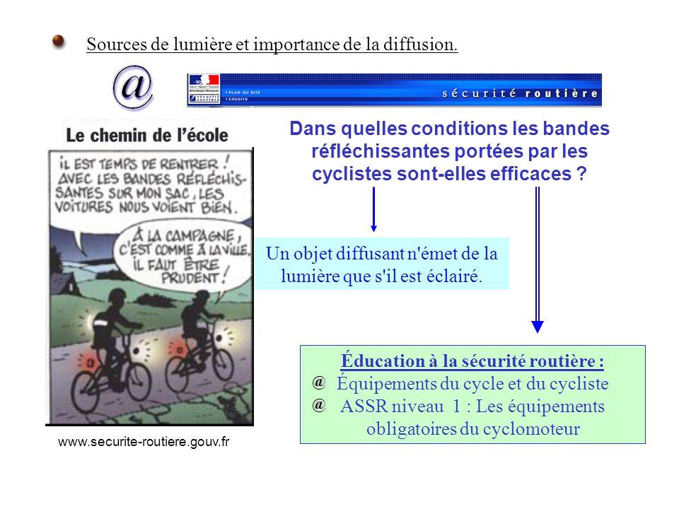 Sources de lumière et importance de la diffusion. Dans quelles conditions les bandes réfléchissantes portées par les cyclistes sont-elles efficaces ?