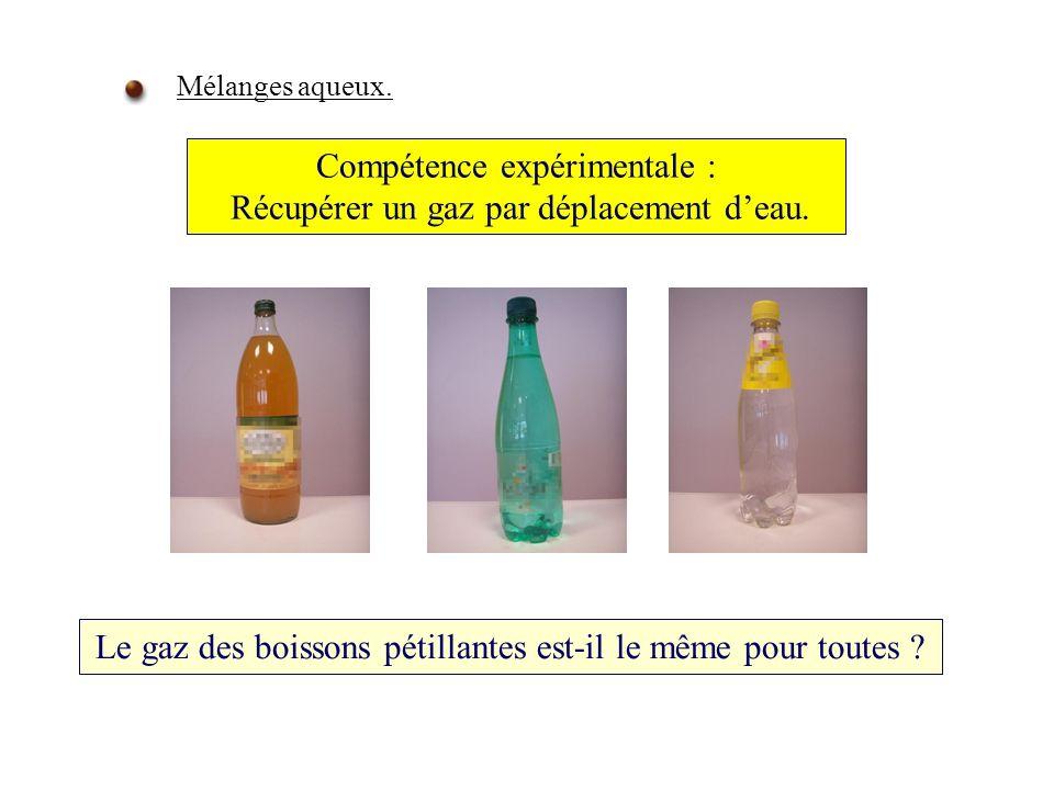 Compétence expérimentale : Récupérer un gaz par déplacement deau.