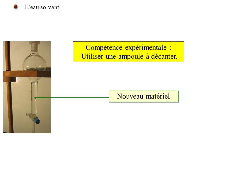 Leau solvant. Nouveau matériel Compétence expérimentale : Utiliser une ampoule à décanter.
