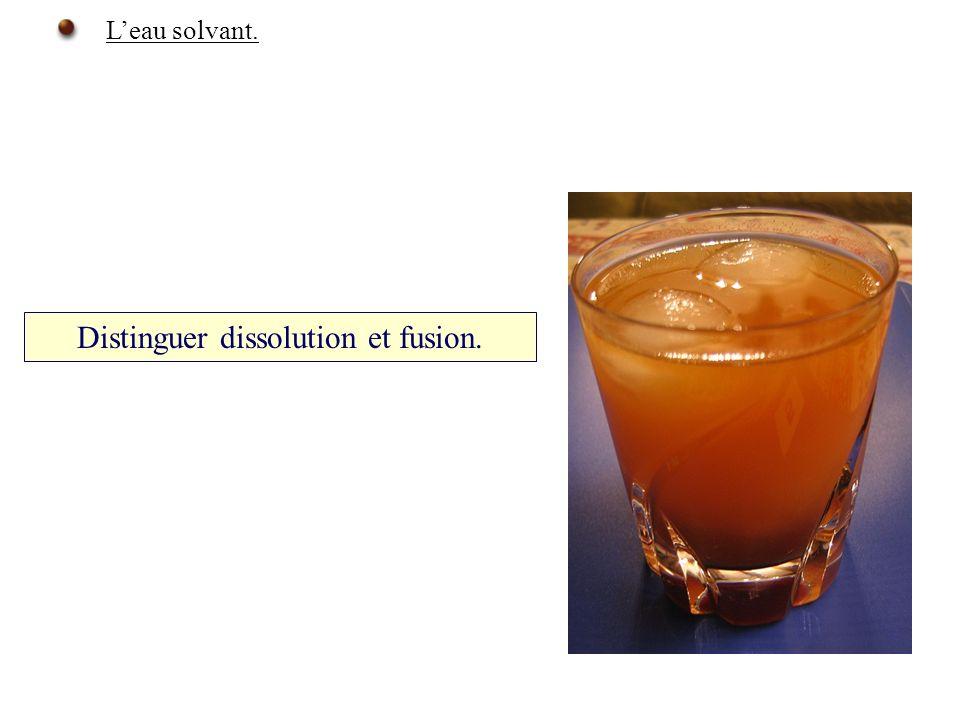 Distinguer dissolution et fusion. Leau solvant.