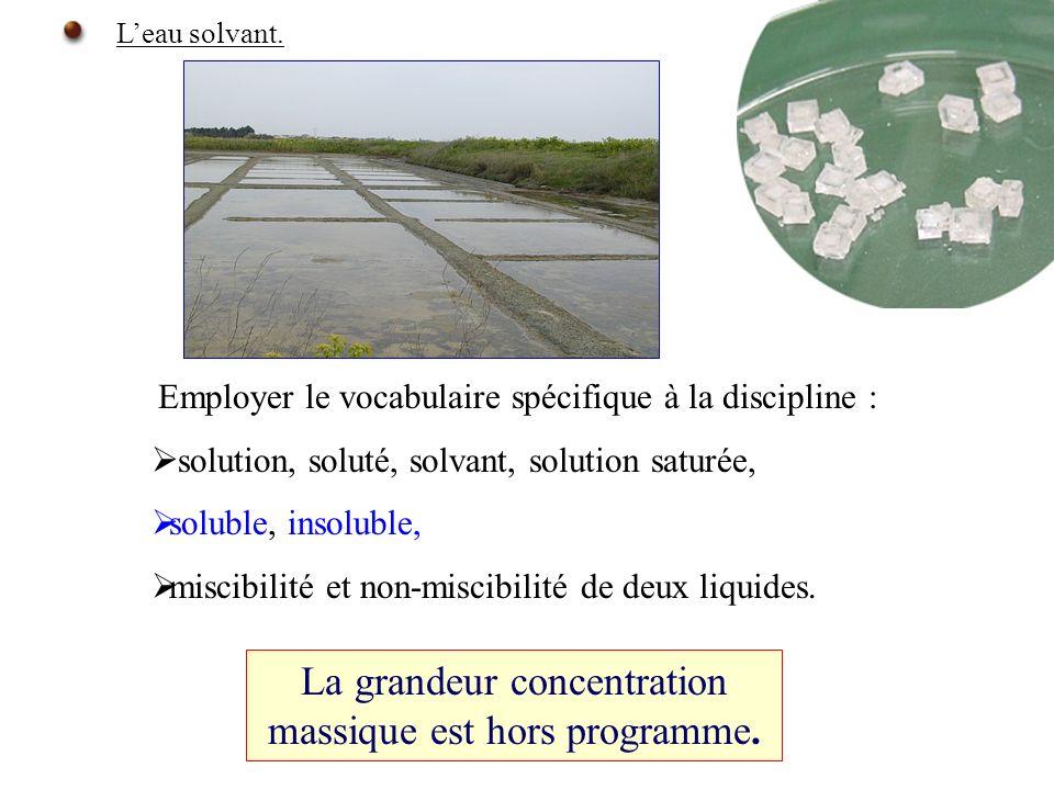 Employer le vocabulaire spécifique à la discipline : solution, soluté, solvant, solution saturée, soluble, insoluble, miscibilité et non-miscibilité de deux liquides.