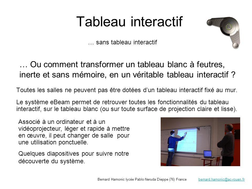 Module récepteur (relié au PC par USB ou Bluetooth) (ici fixation magnétique) « orientation du tableau» (repérage des coordonnées du tableau en cliquant sur les croix) Stylo émetteur (permet lécriture, les clics de la souris, les fonctions spéciales) Transformons le tableau blanc de la salle de cours en tableau interactif un étudiant de BTS électrotechnique prépare son intervention