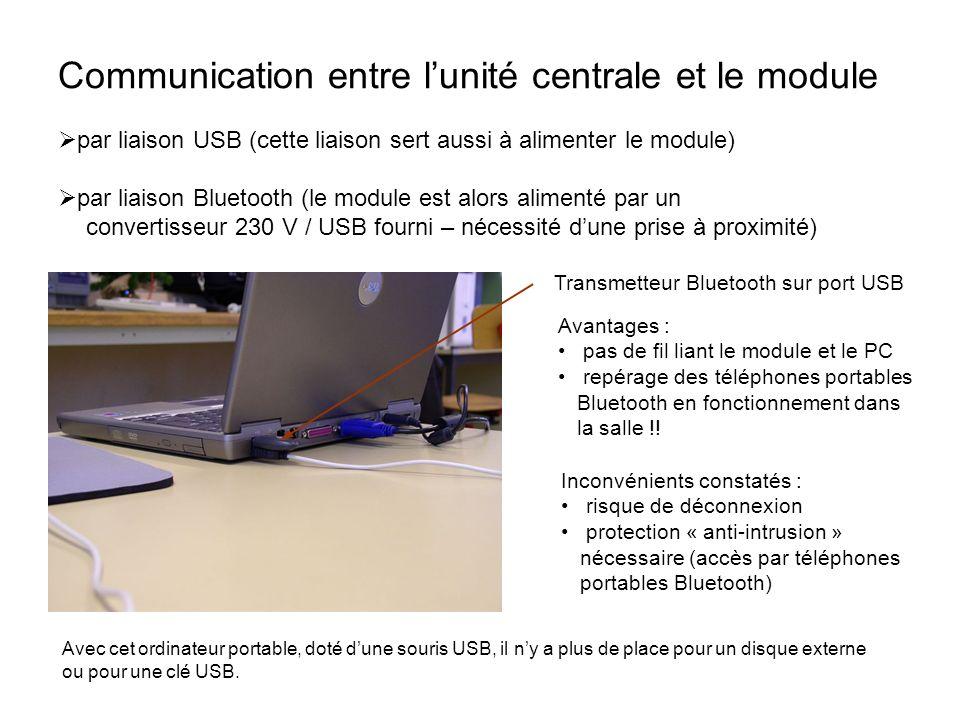 Communication entre lunité centrale et le module Transmetteur Bluetooth sur port USB Avantages : pas de fil liant le module et le PC repérage des télé