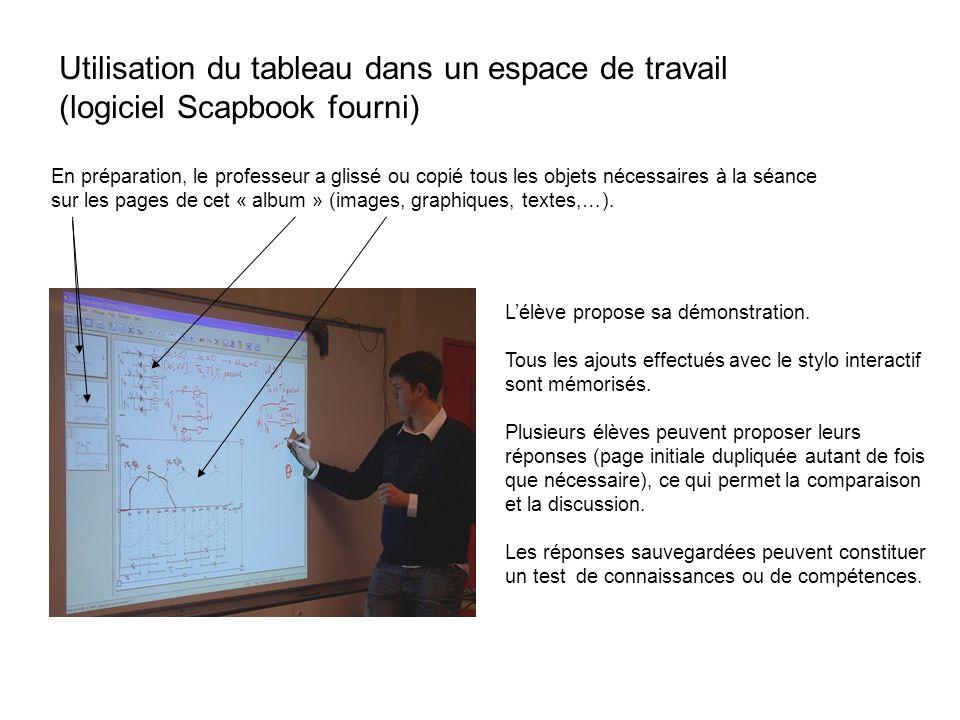 Utilisation du tableau dans un espace de travail (logiciel Scapbook fourni) En préparation, le professeur a glissé ou copié tous les objets nécessaire