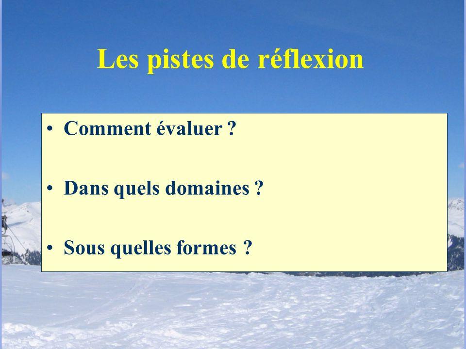 Les pistes de réflexion Comment évaluer ? Dans quels domaines ? Sous quelles formes ?