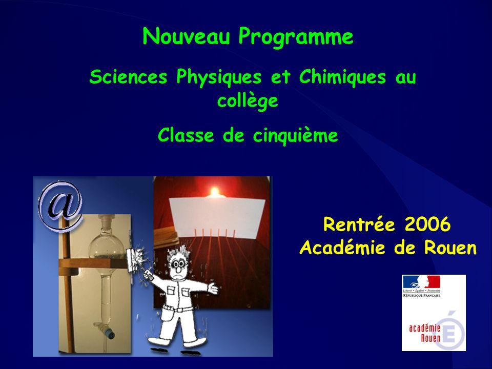 Nouveau Programme Sciences Physiques et Chimiques au collège Classe de cinquième Rentrée 2006 Académie de Rouen