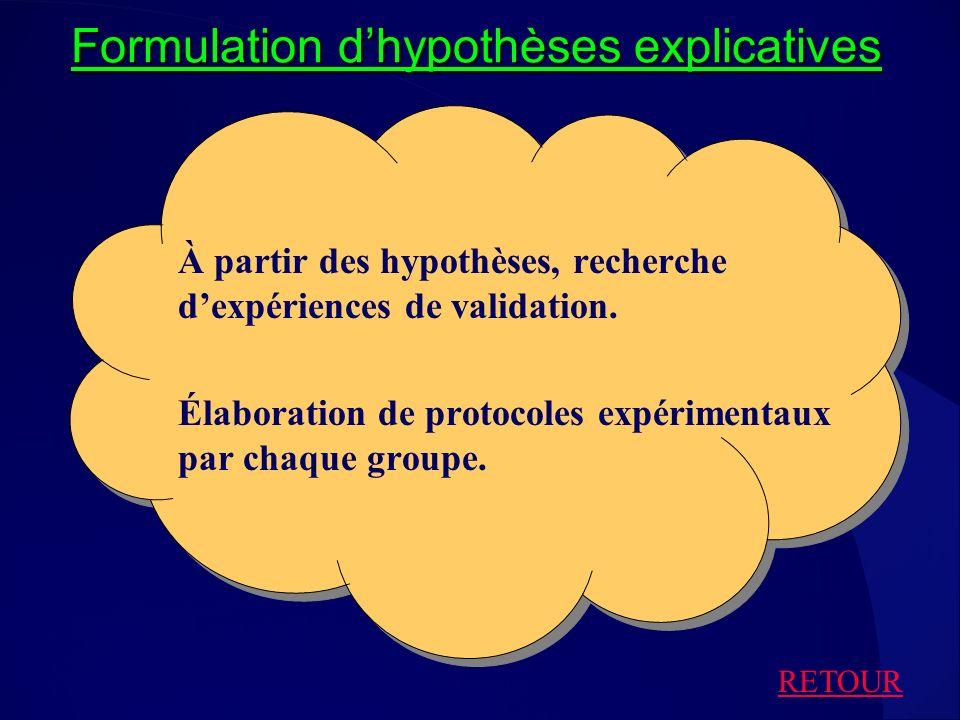 Formulation dhypothèses explicatives À partir des hypothèses, recherche dexpériences de validation. Élaboration de protocoles expérimentaux par chaque