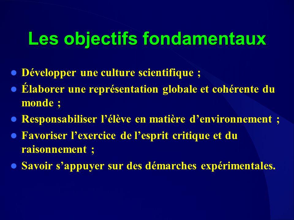 Les objectifs fondamentaux Développer une culture scientifique ; Élaborer une représentation globale et cohérente du monde ; Responsabiliser lélève en