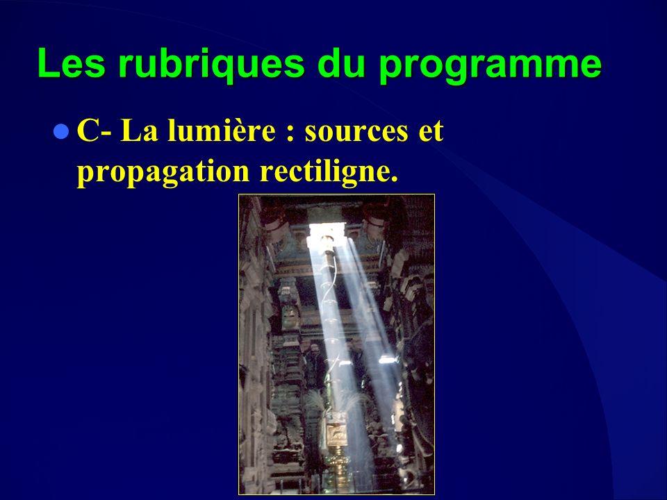 Les rubriques du programme C- La lumière : sources et propagation rectiligne.