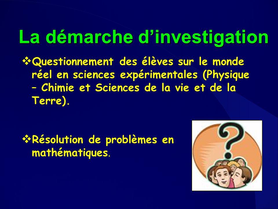 Questionnement des élèves sur le monde réel en sciences expérimentales (Physique – Chimie et Sciences de la vie et de la Terre). Résolution de problèm