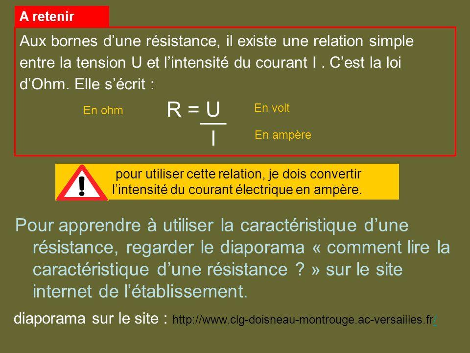 diaporama sur le site : http://www.clg-doisneau-montrouge.ac-versailles.fr/ Aux bornes dune résistance, il existe une relation simple entre la tension