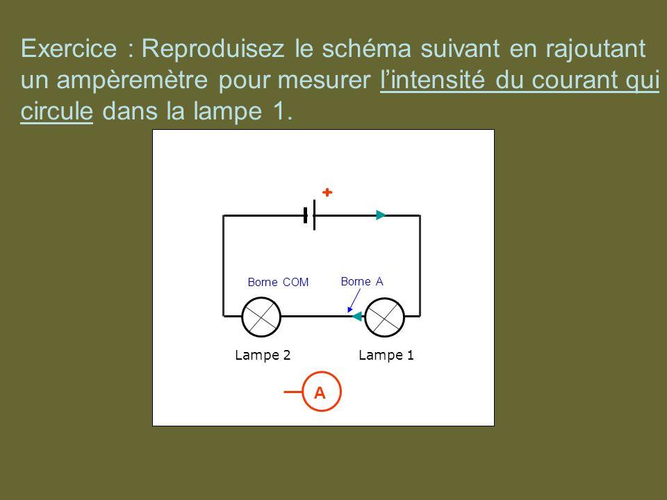 Exercice : Reproduisez le schéma suivant en rajoutant un ampèremètre pour mesurer lintensité du courant qui circule dans la lampe 1. + + Lampe 1Lampe