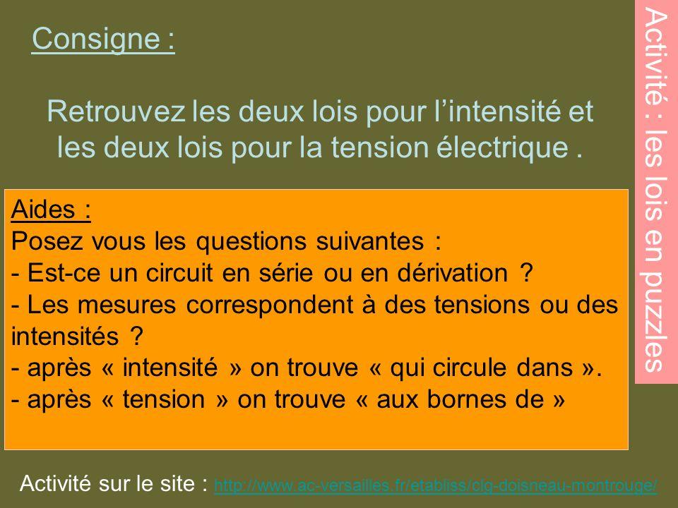 Consigne : Retrouvez les deux lois pour lintensité et les deux lois pour la tension électrique. Activité : les lois en puzzles Aides : Posez vous les