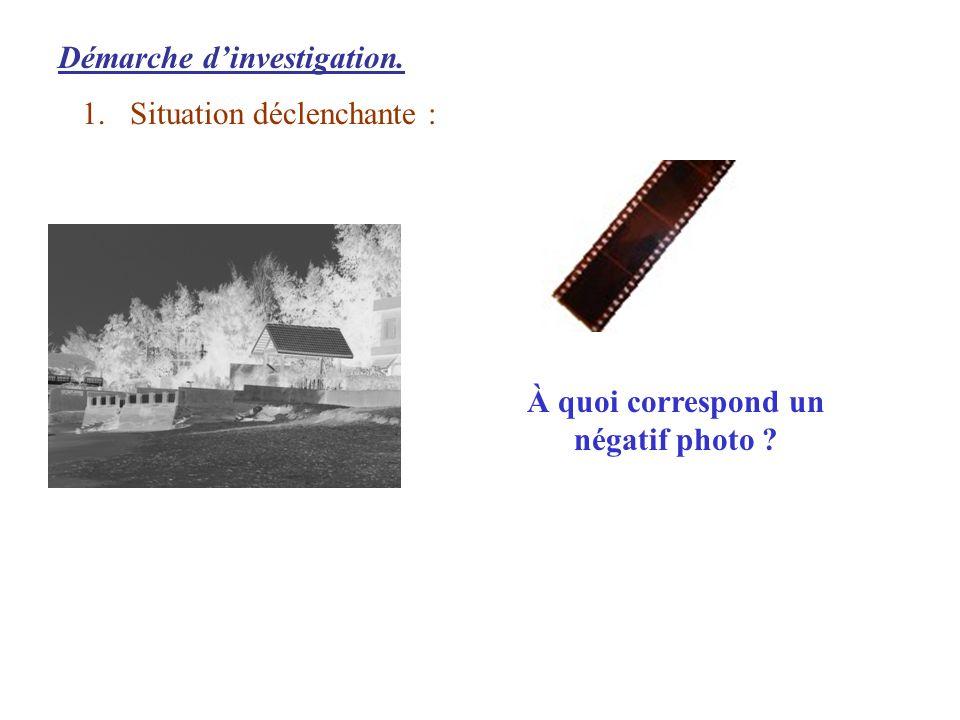 Démarche dinvestigation. 1.Situation déclenchante : À quoi correspond un négatif photo ?