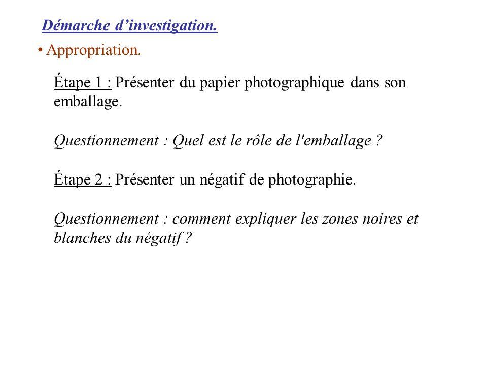 Démarche dinvestigation. Étape 1 : Présenter du papier photographique dans son emballage. Questionnement : Quel est le rôle de l'emballage ? Étape 2 :