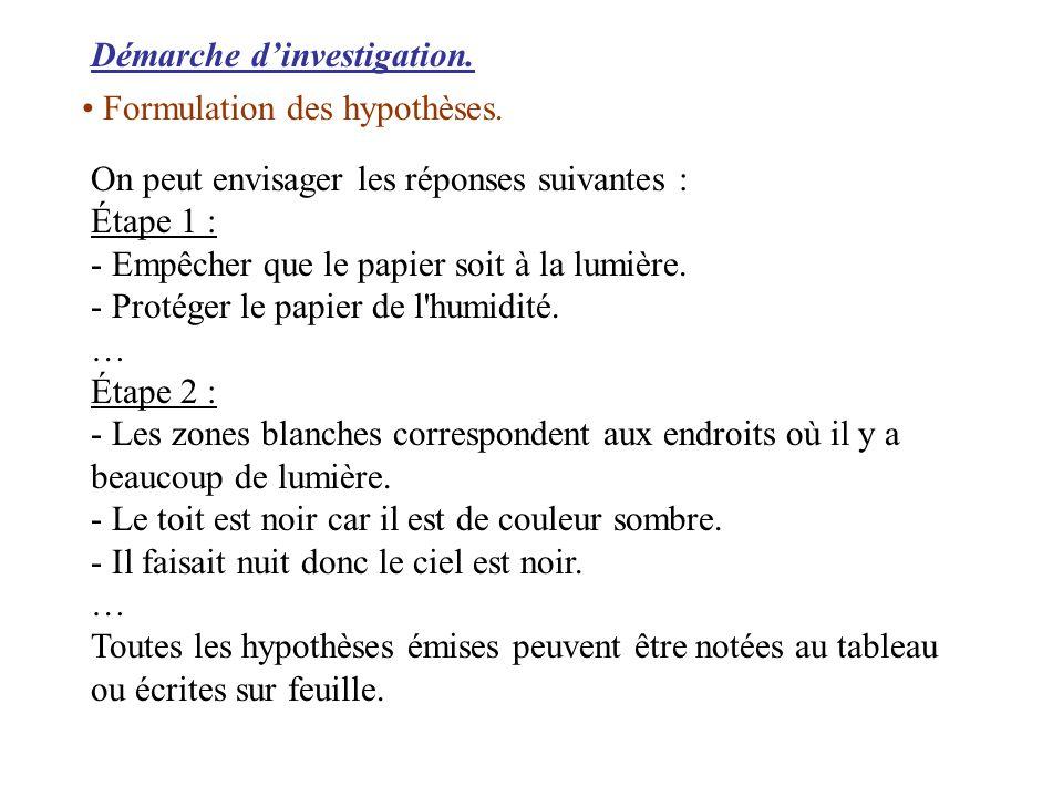 Démarche dinvestigation. Formulation des hypothèses. On peut envisager les réponses suivantes : Étape 1 : - Empêcher que le papier soit à la lumière.