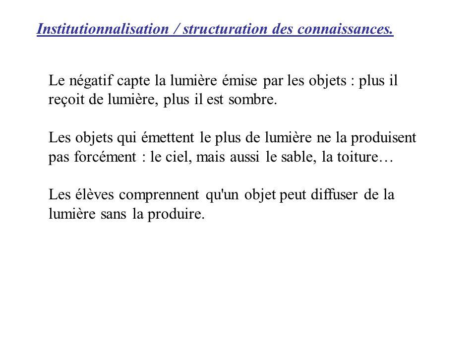 Institutionnalisation / structuration des connaissances. Le négatif capte la lumière émise par les objets : plus il reçoit de lumière, plus il est som