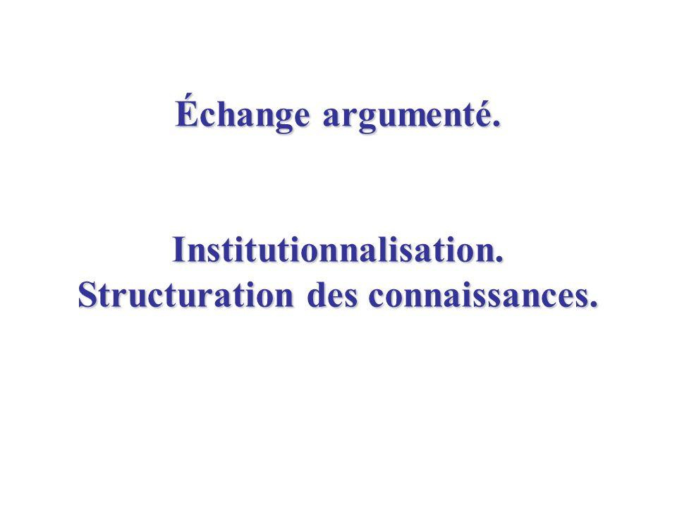 Échange argumenté. Institutionnalisation. Structuration des connaissances.