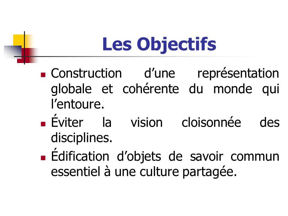 Les Objectifs Construction dune représentation globale et cohérente du monde qui lentoure. Éviter la vision cloisonnée des disciplines. Édification do