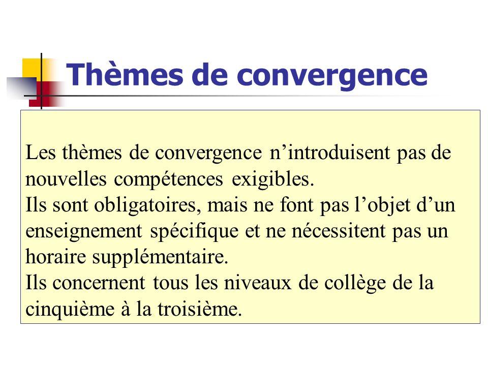 Thèmes de convergence Les thèmes de convergence nintroduisent pas de nouvelles compétences exigibles. Ils sont obligatoires, mais ne font pas lobjet d