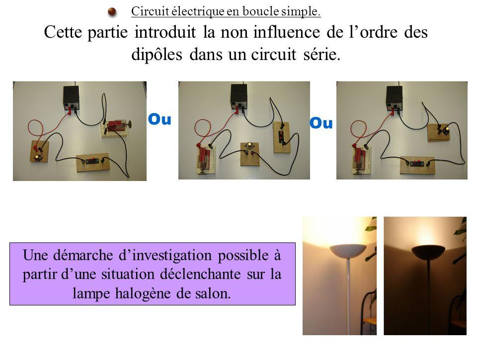 Cette partie introduit la non influence de lordre des dipôles dans un circuit série. Circuit électrique en boucle simple. Ou Une démarche dinvestigati