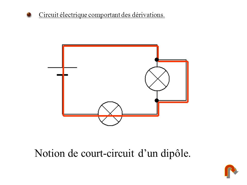 Notion de court-circuit dun dipôle. Circuit électrique comportant des dérivations.