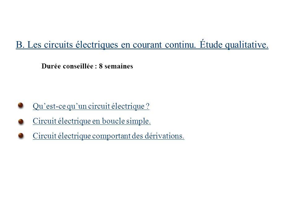 B. Les circuits électriques en courant continu. Étude qualitative. Durée conseillée : 8 semaines Quest-ce quun circuit électrique ? Circuit électrique