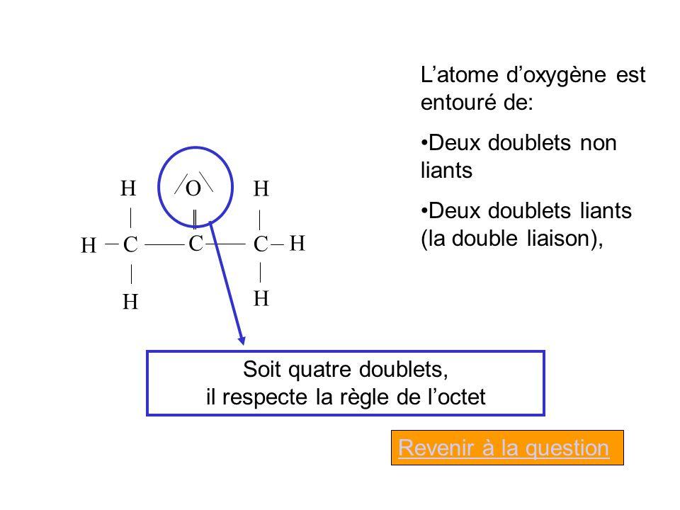 O C C C H H H H H H Latome doxygène est entouré de: Deux doublets non liants Deux doublets liants (la double liaison), Soit quatre doublets, il respecte la règle de loctet Revenir à la question