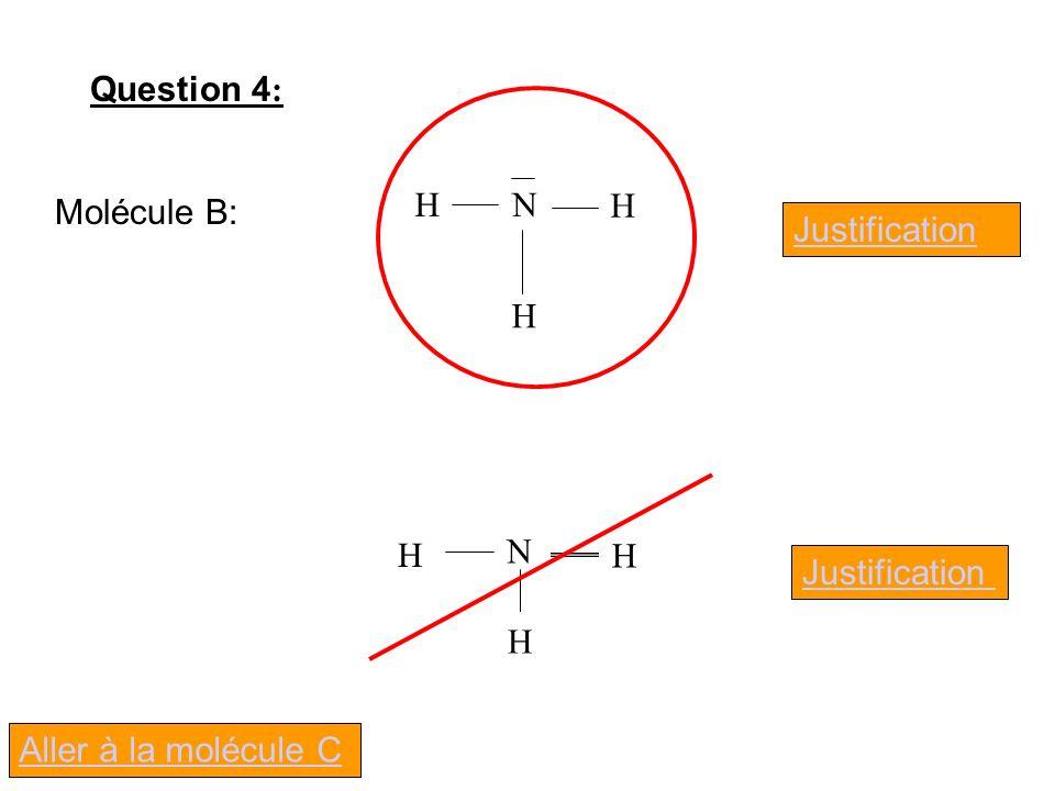 Question 4 : Molécule B: Justification N H H H N H H H Aller à la molécule C