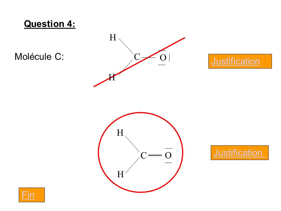 Question 4 : Molécule C: Justification C H H O C H H O Fin