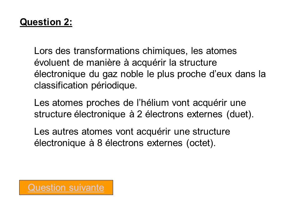 Question 2: Lors des transformations chimiques, les atomes évoluent de manière à acquérir la structure électronique du gaz noble le plus proche deux dans la classification périodique.