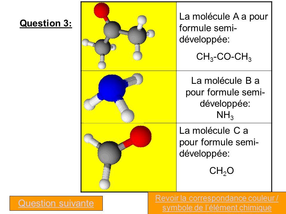 Question 3 : La molécule A a pour formule semi- développée: CH 3 -CO-CH 3 La molécule B a pour formule semi- développée: NH 3 La molécule C a pour formule semi- développée: CH 2 O Question suivante Revoir la correspondance couleur / symbole de lélément chimique