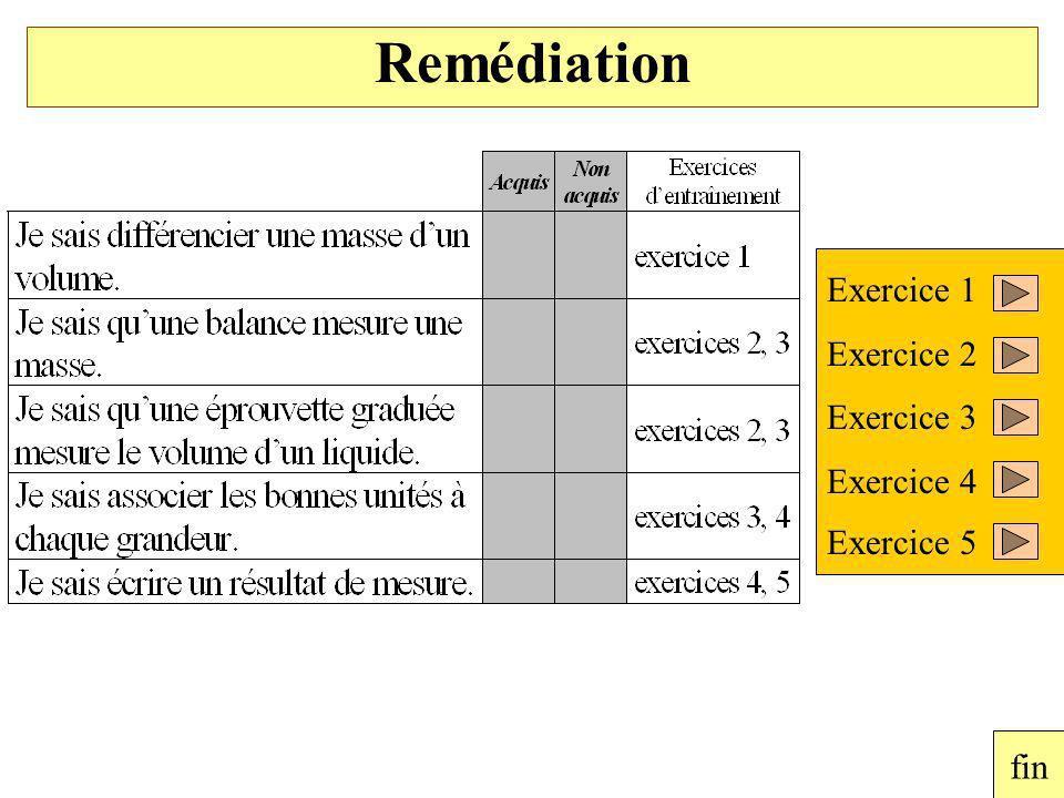 Exercice 1 Exercice 2 Exercice 3 Exercice 4 Exercice 5 fin Remédiation