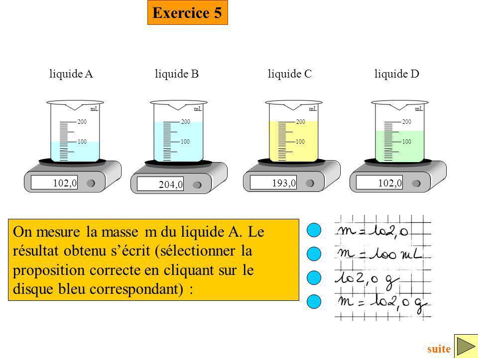 Exercice 5 102,0 100 200 mL liquide A 204,0 100 200 mL liquide B 193,0 100 200 mL liquide C 102,0 100 200 mL liquide D On mesure la masse m du liquide
